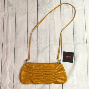 NWOT HOBO Mustard Pleated Crossbody Leather Bag